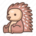 animal, cartoon, cute, hedgehog, porcupine, wildlife icon