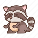 animal, cartoon, cute, raccoon, wildlife, zoo icon