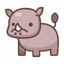 animal, cartoon, cute, rhino, rhinoceros, wildlife, zoo icon