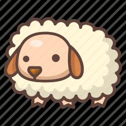 animal, cartoon, cute, farm, lamb, mammal, sheep icon