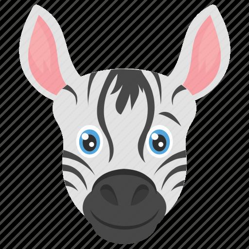 animal, mammal, zebra, zebra head, zoo icon