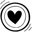 circle, doodle, heart, plate, shape, favorite, valentine icon