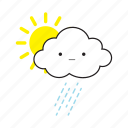 cloud, rainy, sun icon