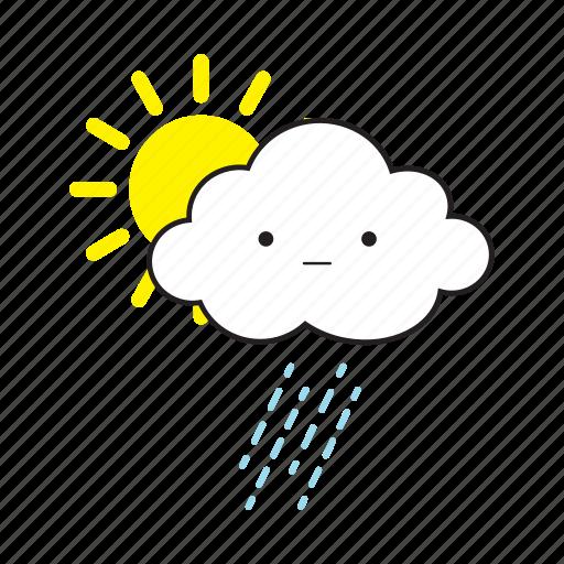 cloud, rainy, sun icon