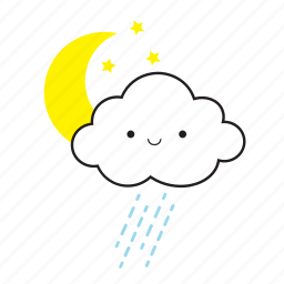 moon, rain, star icon