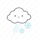 cloud, rainy, snowflake icon