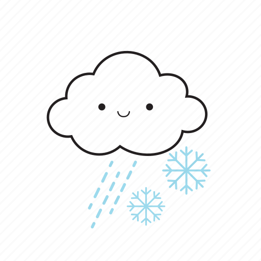 cloud, rainy, snowflake icon