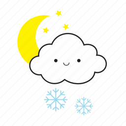 cloud, moon, snowflake, star icon
