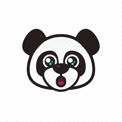 amazed, emoticon, happy, panda, shocked icon
