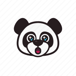 amazed, emoticon, happy, panda, shocked, star icon