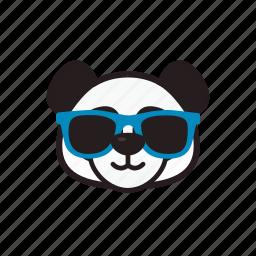 cool, emoticon, glasses, panda icon