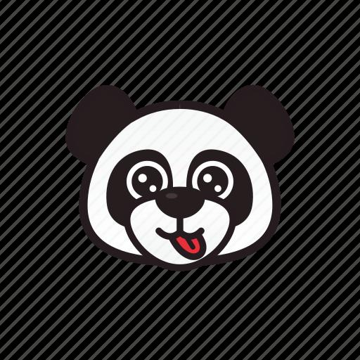emoticon, happy, panda, tongue icon