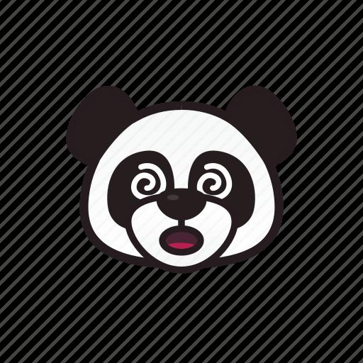 circle, confused, emoticon, panda icon