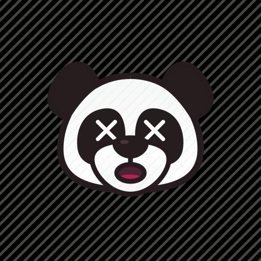 cross, emoticon, expression, panda, shocked icon