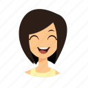 girl, hair, laugh, short icon