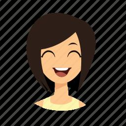 girl, hair, laugh, short icon