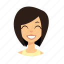 girl, hair, short, smile icon