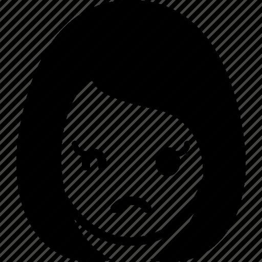 avatar, emotion, face, girl, sad, woman icon