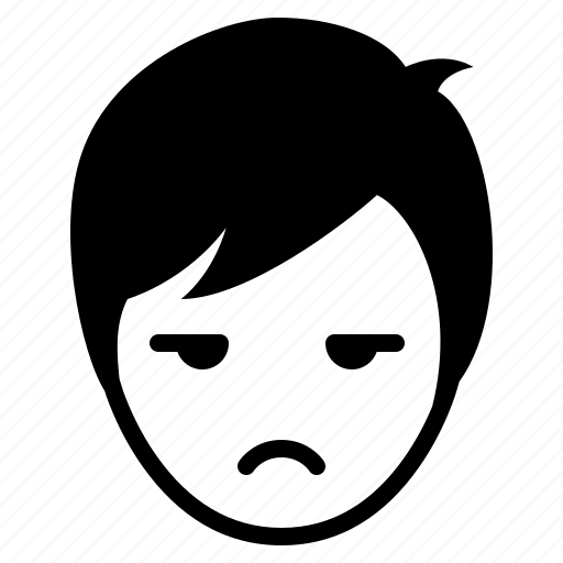 avatar, boy, emotion, face, glare, man, sad icon