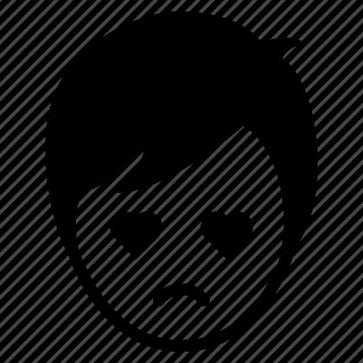 avatar, boy, emotion, face, love, man, sad icon