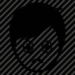 avatar, boy, emotion, face, man, sad, surprise icon