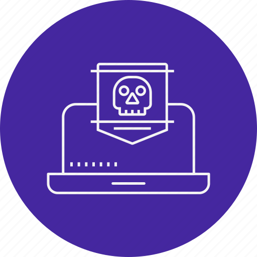 criminal, cyber crime, hacker, hacking, laptop, threat, virus icon