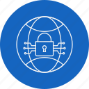 criminal, cyber crime, globe, hacking, lock, threat, virus icon