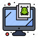 computer, monitor, security, virus icon