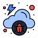 cloud, infected, malware, virus icon