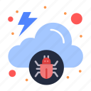 malware, cloud, infected, virus icon