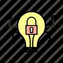 crime, cyber, bulb, cyber bulb, security icon