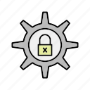 crime, cyber, lock, security, setting icon, setting security
