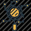 analysis, analytics, analyze, investigation, network, scan network, technology icon