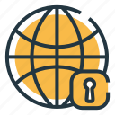 global, internet, lock, protect, safe, secure internet, security icon