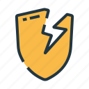 broken, crack, protection, safety, security, shield, unprotect icon