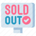 out, shopping, sold icon