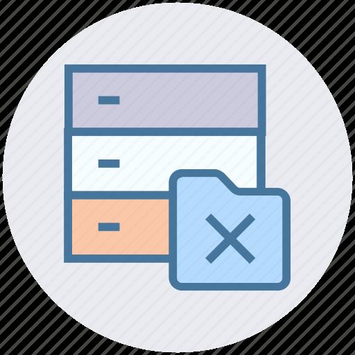 cross, database, folder, hosting, network, server icon