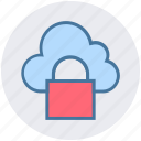 cloud, lock, private, secure, security, sky icon