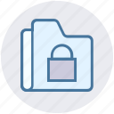 archive, files, folder, lock, private, storage icon