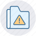 alert, files, folder, interface, storage, warning