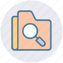 find, folder, magnifier, magnifying glass, search, security icon