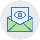 envelope, eye, letter, open, page, view icon