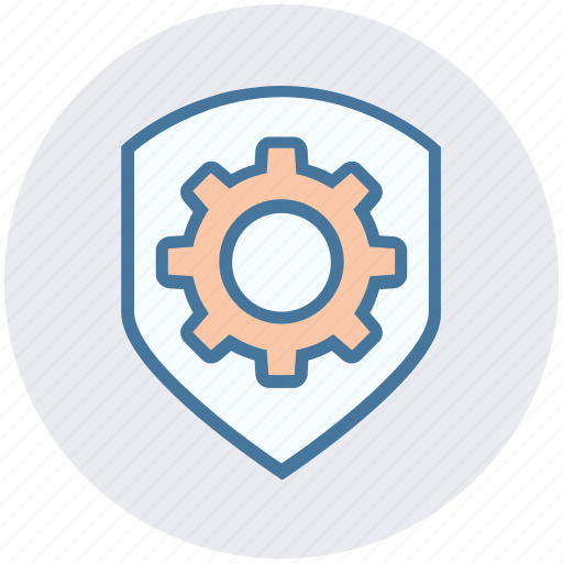 cog, gear, options, security, setting, shield icon