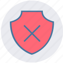 cross, danger, firewall, forbidden, protection, shield icon
