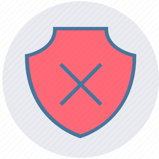 cross, danger, firewall, forbidden, protection, shield icon
