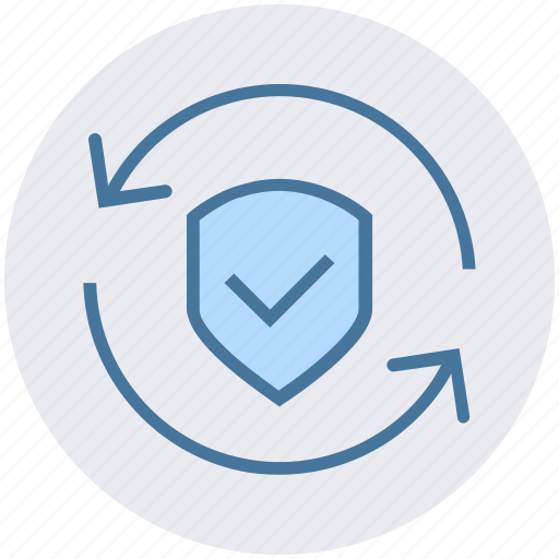 accept, arrows, protection, security, shield, sync icon