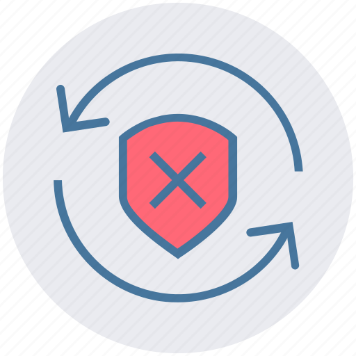 arrows, cross, protection, security, shield, sync icon