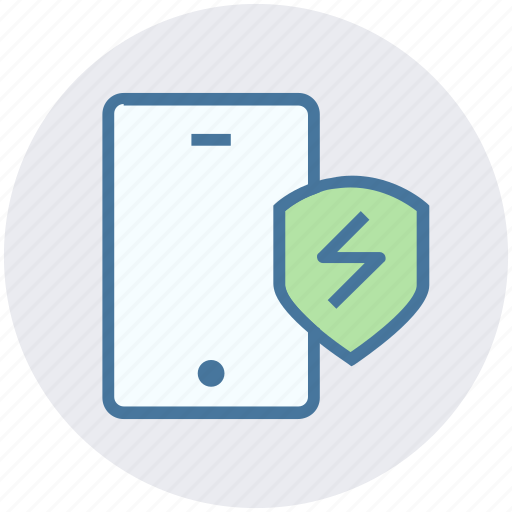 antivirus, mobile protection, protection, shield, smartphone, thunder icon