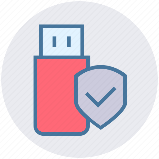 accept, data protection, data security, flash drive, shield, usb protection icon