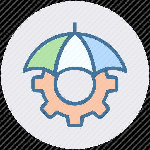 assurance, cog, gear, insurance, investment, umbrella icon